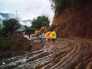 clearing of road landslide