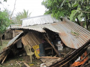 A house wrecked by the typhoon