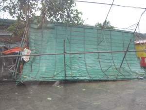 Market stall blown by the typhoon