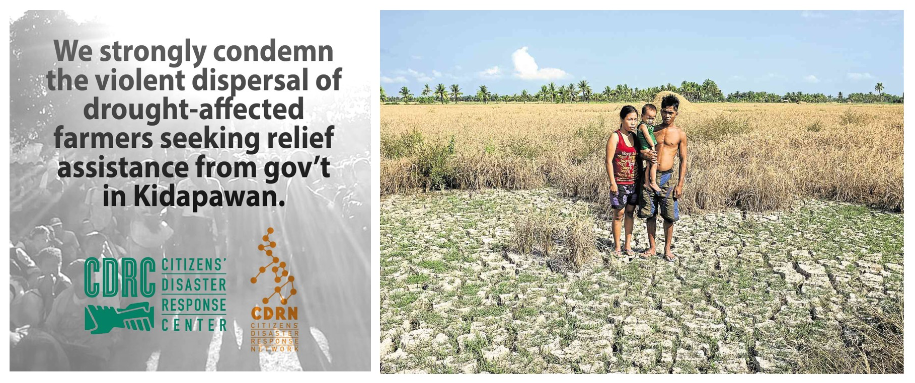 Source: (L) Photo by CDRC; (R) Photo by Karlos Manlupig, Inquirer Mindanao: A farming family in M'lang, North Cotabato - April 2016