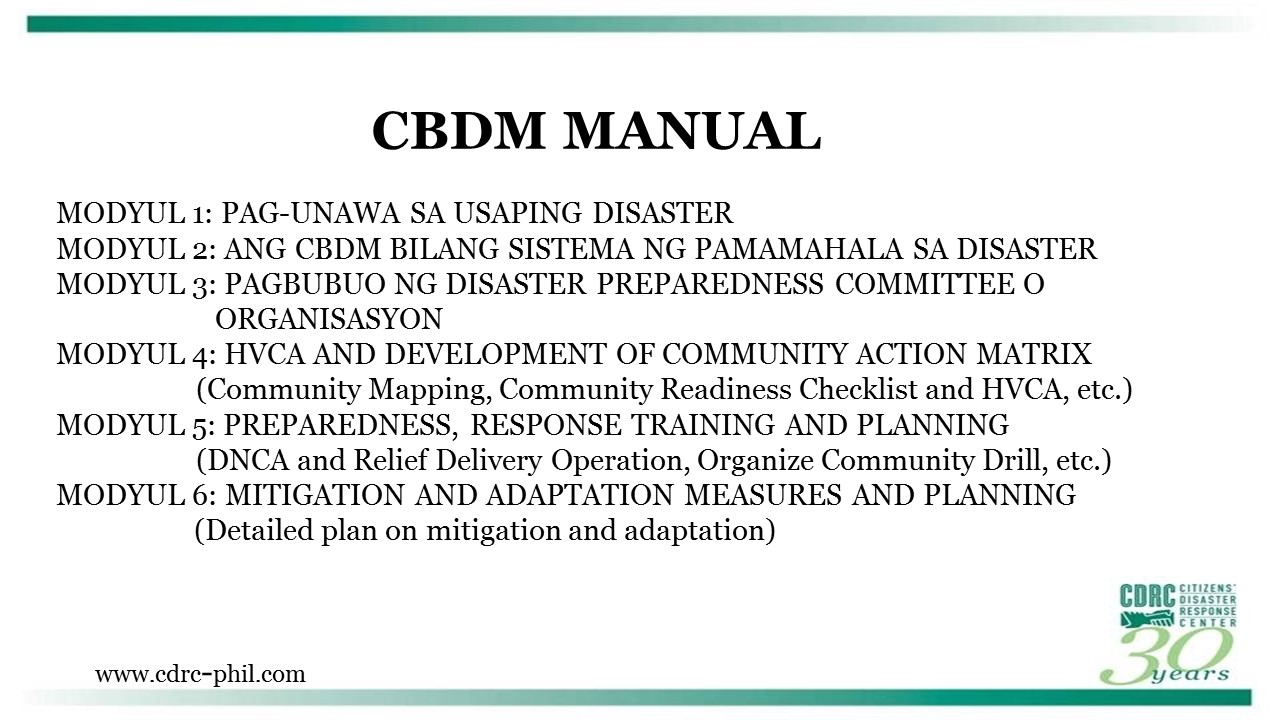Overview of Community-Based Disaster Management (CBDM